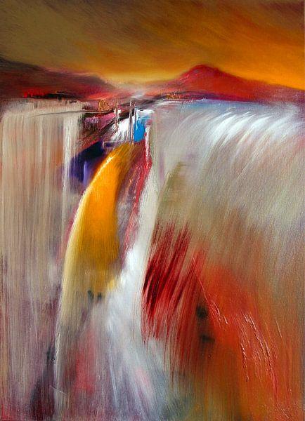 Tosender Wasserfall: Abstrakte Landschaft voller Weite von Annette Schmucker