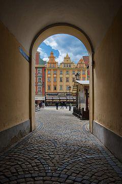 gekleurde huizen in de stad Wroclaw. van Robin van Maanen