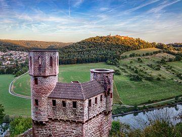 Blick zum Dilsberg über die Burg Schadeck hinweg von Uwe Ulrich Grün