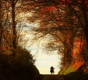 Oud vrouwtje en haar fiets van