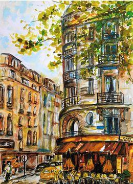 Terrasje in een Parijse straat. van Ineke de Rijk