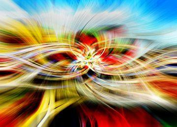 Abstract met rood geel en blauw van Rietje Bulthuis