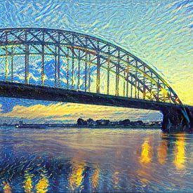 Skyline van Nijmegen in de stijl van Van Gogh - Warm panorama kunstwerk van Slimme Kunst.nl