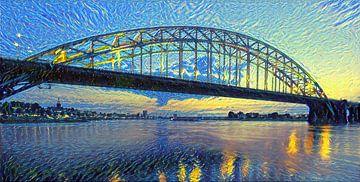 Skyline von Nimwegen im Stil Van Goghs - Warmes Panoramakunstwerk von Slimme Kunst.nl