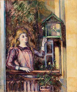 Mädchen in der Voliere, Paul Cézanne (ca. 1888) von Atelier Liesjes
