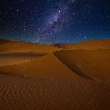 Lijnenspel in de duinen van de Sossusvlei met melkweg, Namibië van Rietje Bulthuis