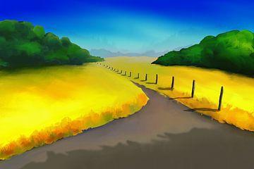 Landschapsschilderij met een wandelpad tussen de velden
