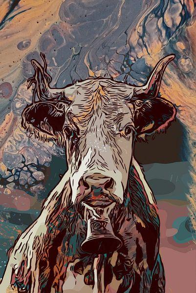 Koeienkop in mixed media van The Art Kroep