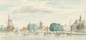 Blick auf Dordrecht mit dem Rietdijk-Tor und den Windmühlen, Aert Schouman
