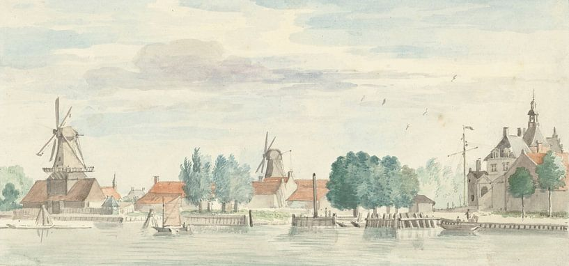 Blick auf Dordrecht mit dem Rietdijk-Tor und den Windmühlen, Aert Schouman von Meesterlijcke Meesters