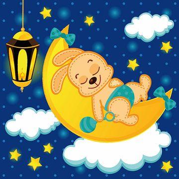 Lief konijntje ligt te slapen op de maan van Atelier Liesjes