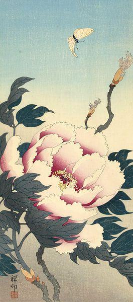 Pioenroos met vlinder, Ohara Koson van 1000 Schilderijen