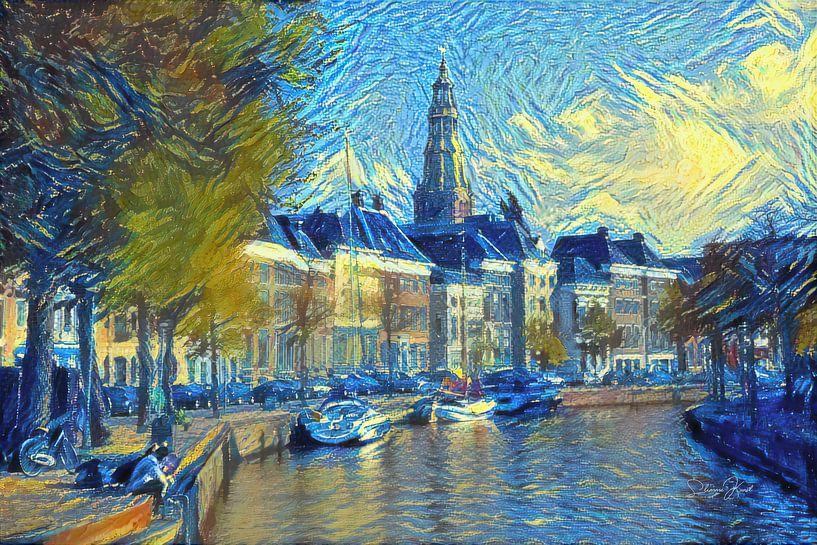 Stijlvol Kunstwerk van Groningen: Hoge Der Aa te Groningen in de stijl van Van Gogh van Slimme Kunst.nl