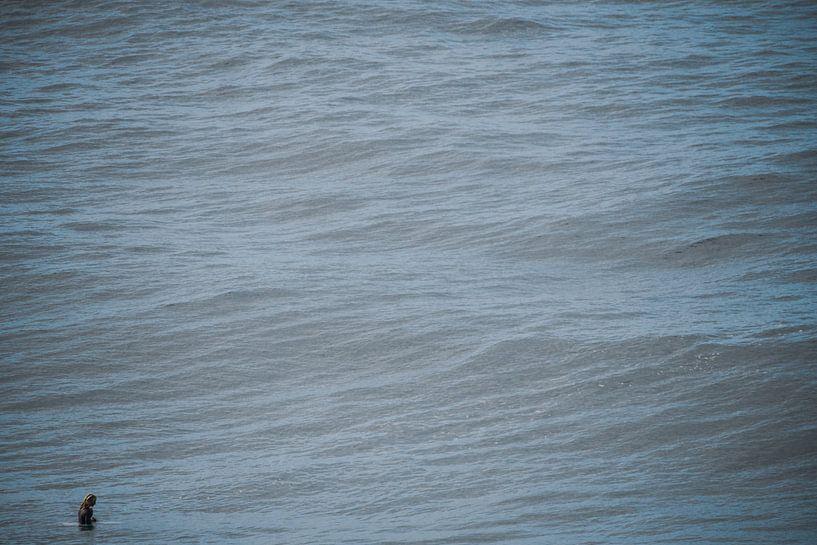 Alleen in de oceaan nadenkend van massimo pardini