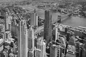 Brooklyn Bridge, zwart wit. van