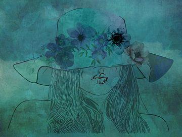 Frau mit Hut. von Yolanda Bruggeman