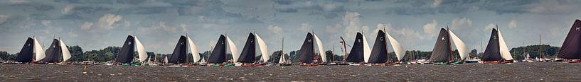 Skutsjesilen, course avec des voiliers à fond plat sur Frans Lemmens