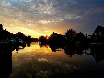 Zonsondergang in Groningen van Robin Nagel