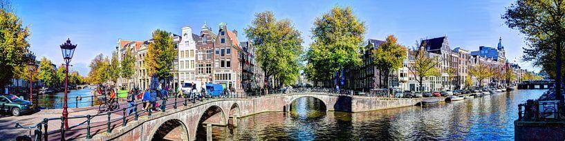 Panorama Leidsegracht / Keizersgracht Amsterdam van Hendrik-Jan Kornelis