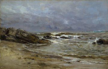 Carlos de Haes Meereslandschaft, Seedunkle Wolken, Antike Landschaft