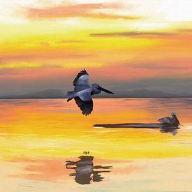 Ozean bei Sonnenuntergang mit zwei Seevögeln von Tanja Udelhofen