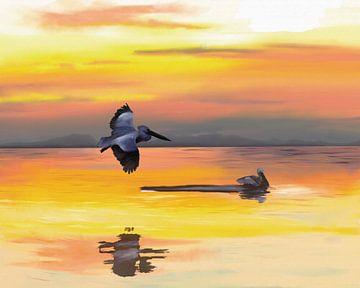 Oceaan bij zonsondergang met twee zeevogels