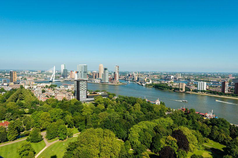 Stadsgezicht van Rotterdam met de Erasmusbrug. van Brian Morgan