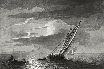 Seestück mit Vollmond , Cornelis Ploos van Amstel (um 1779-1781)