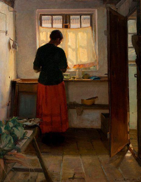 Das Dienstmädchen in der Küche, Anna Ancher von Meesterlijcke Meesters