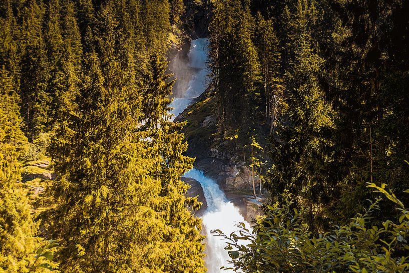 Waterval in het bos van Koop je Canvas