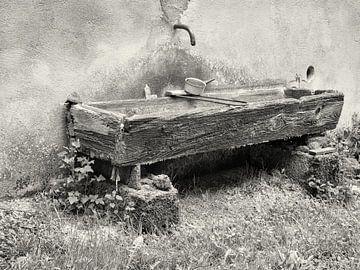 Detail van een waterbak in zwart-wit van Louis Kreuk