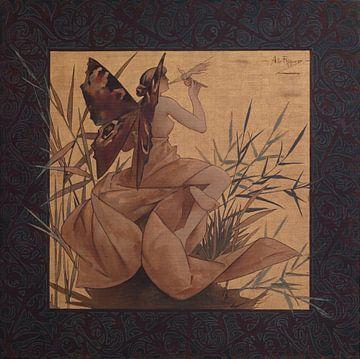 Compositie met gevleugelde nimf die tussen riet blaast - Alexandre de Riquer, 1887 van Atelier Liesjes