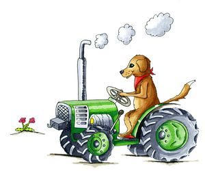 Handgezogener Hund auf Traktor