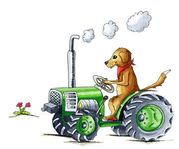 Handgetekende hond op tractor van Ivonne Wierink