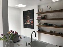 Kundenfoto: Stilleben mit Obst, Austern und Porzellan, auf leinwand