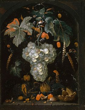 Still-Leben mit Trauben und Früchten in einer Nische, Abraham Mignon