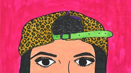 Vrouw met panterpet van Schildermijtje Shop