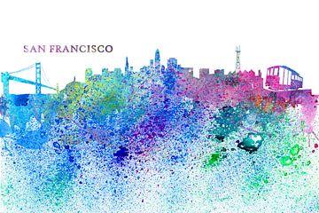 San Francisco Skyline Silhouette Impressionistisch van Markus Bleichner