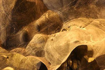 Hondengezicht op gladde grotmuur. van kall3bu