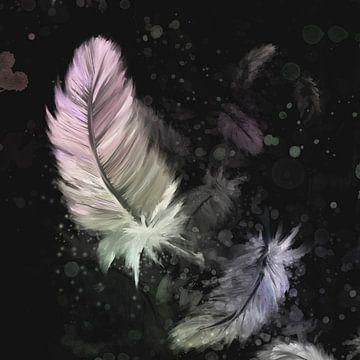 Artwork - zwarte achtergrond met mooie gekleurde dons veertjes van Emiel de Lange