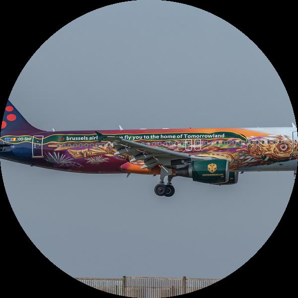 Een fraai beschilderde Airbus A320 van Brussels Airlines in de Tomorrowland livery landt hier op de  van Jaap van den Berg
