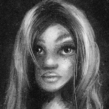 Quadratisches Porträt einer Frau - schwarz-weißes Kunstwerk mit viel Textur von Emiel de Lange