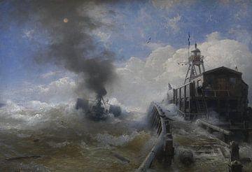 Andreas Achenbach, Ein Schlepper verlässt den Hafen von Ostende bei Flut, 1882 von Atelier Liesjes