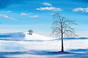 Blaue Winterlandschaft mit einem Baum von Tanja Udelhofen