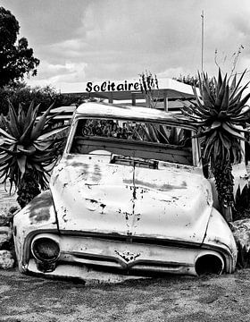 Autowrak bij Solitaire in Namibië van
