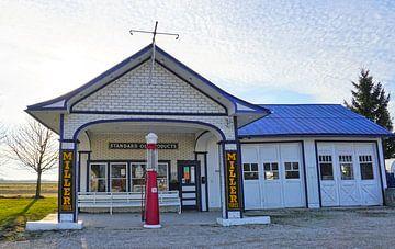 Vintage Benzinestation Odell, Illinois langs de Route66