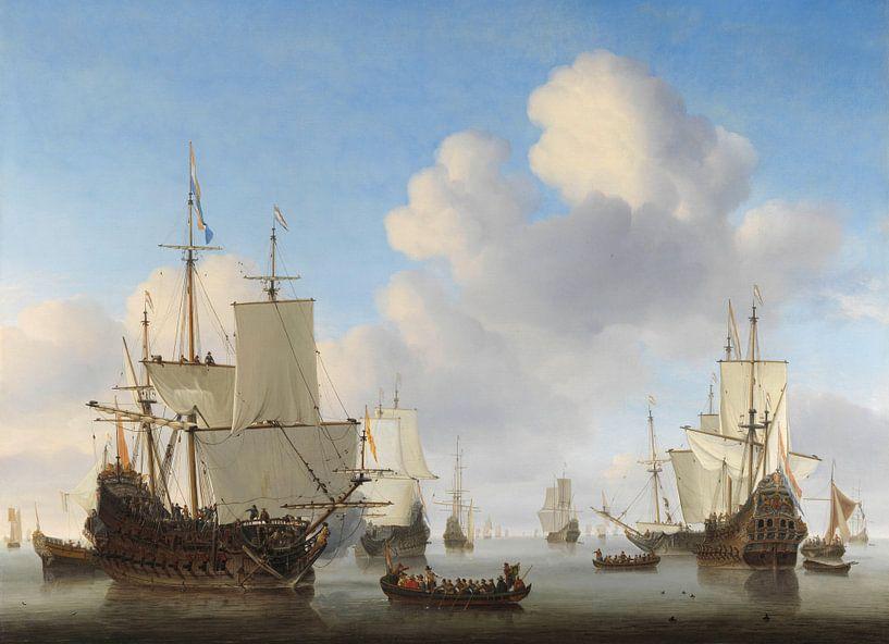 Hollandse schepen op een kalme zee van Schilders Gilde