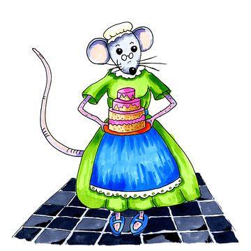 Oma muis met zelfgebakken taart van Ivonne Wierink