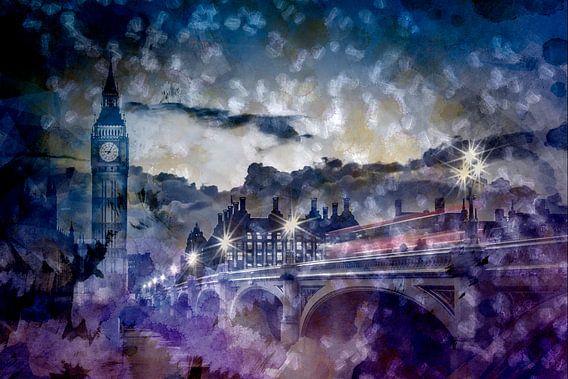 City-Art LONDON Westminster Bridge at Sunset van Melanie Viola