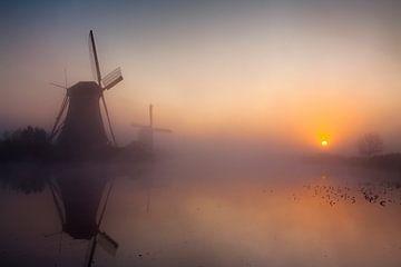 Mistige morgen Kinderdijk van Sander Groenendijk